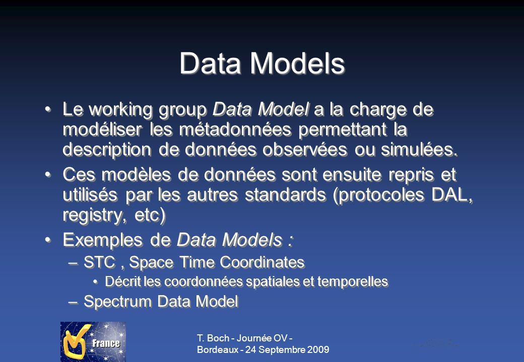 T. Boch - Journée OV - Bordeaux - 24 Septembre 2009 Data Models Le working group Data Model a la charge de modéliser les métadonnées permettant la des