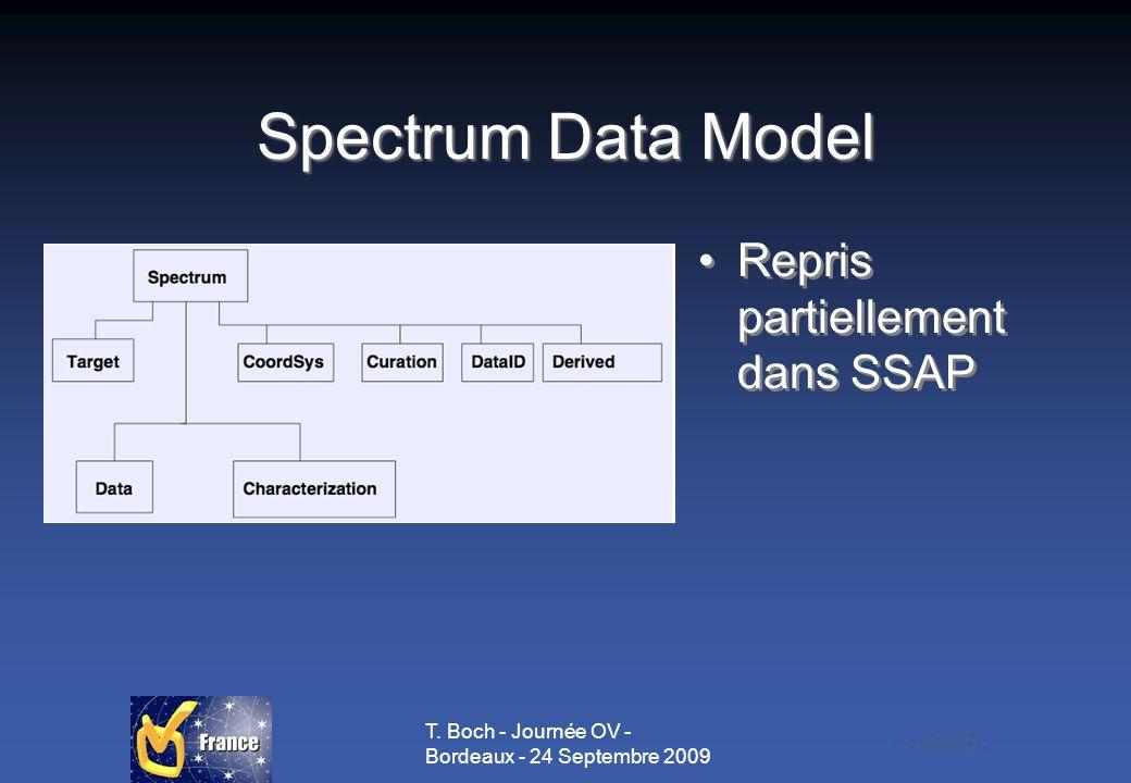 T. Boch - Journée OV - Bordeaux - 24 Septembre 2009 Spectrum Data Model Repris partiellement dans SSAP