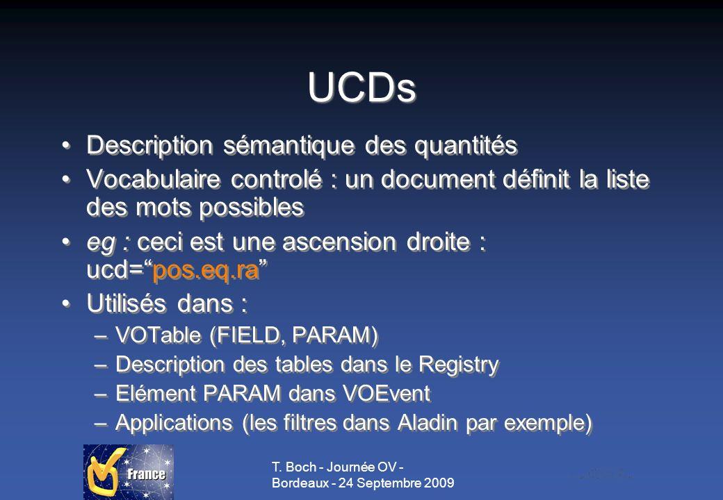 T. Boch - Journée OV - Bordeaux - 24 Septembre 2009 UCDs Description sémantique des quantités Vocabulaire controlé : un document définit la liste des