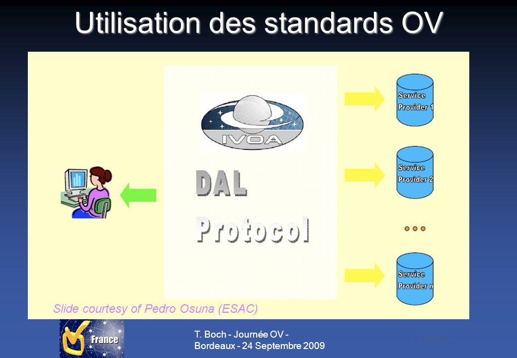 T. Boch - Journée OV - Bordeaux - 24 Septembre 2009 Utilisation des standards OV Slide courtesy of Pedro Osuna (ESAC)