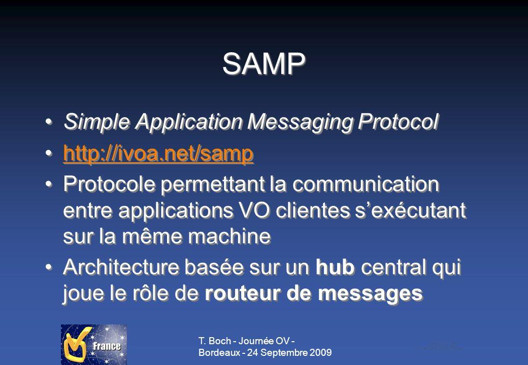 T. Boch - Journée OV - Bordeaux - 24 Septembre 2009 SAMP Simple Application Messaging Protocol http://ivoa.net/samp Protocole permettant la communicat