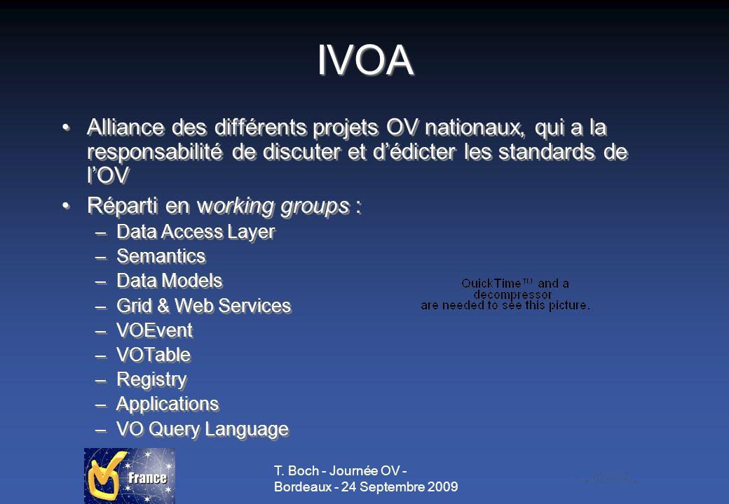 T. Boch - Journée OV - Bordeaux - 24 Septembre 2009 IVOA Alliance des différents projets OV nationaux, qui a la responsabilité de discuter et dédicter