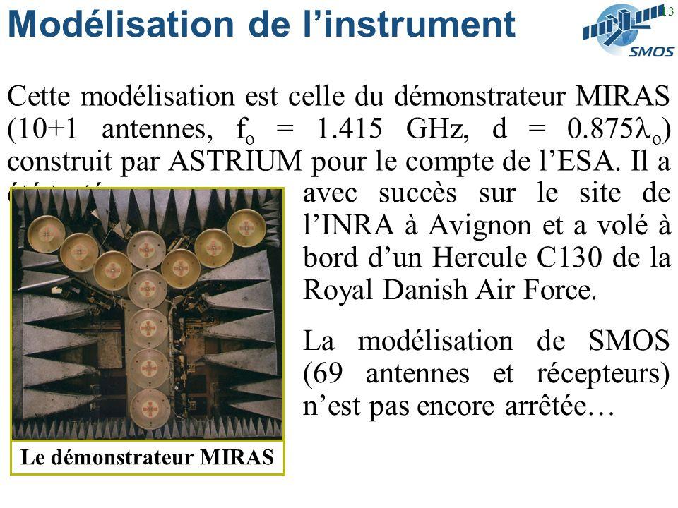 13 Modélisation de linstrument Cette modélisation est celle du démonstrateur MIRAS (10+1 antennes, f o = 1.415 GHz, d = 0.875 o ) construit par ASTRIUM pour le compte de lESA.