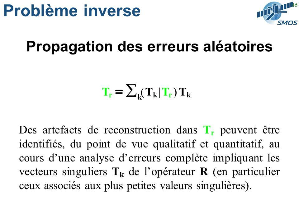 46 Problème inverse Propagation des erreurs aléatoires Des artefacts de reconstruction dans T r peuvent être identifiés, du point de vue qualitatif et quantitatif, au cours dune analyse derreurs complète impliquant les vecteurs singuliers T k de lopérateur R (en particulier ceux associés aux plus petites valeurs singulières).