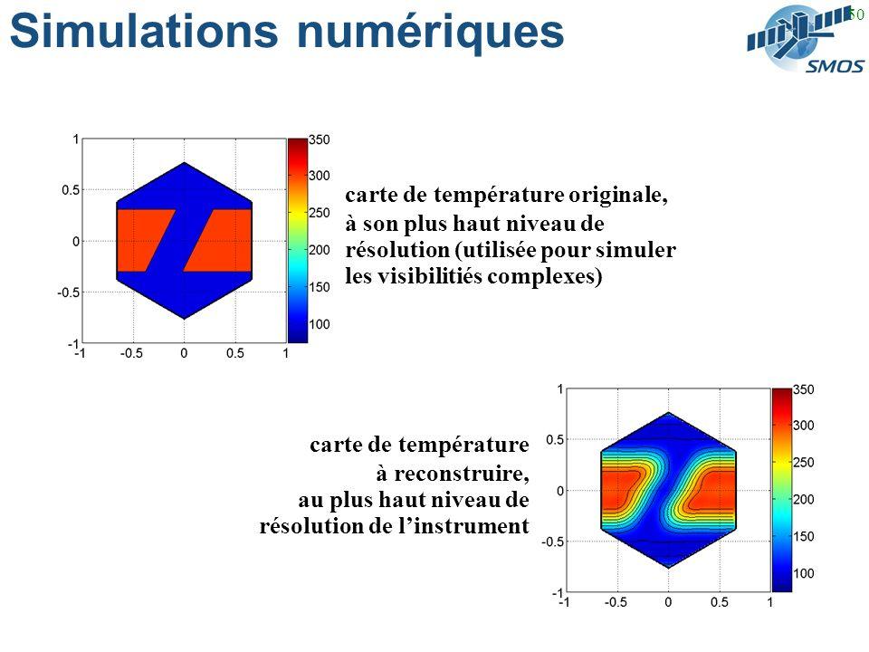 50 Simulations numériques carte de température originale, à son plus haut niveau de résolution (utilisée pour simuler les visibilitiés complexes) carte de température à reconstruire, au plus haut niveau de résolution de linstrument