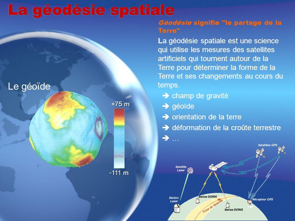 Les techniques de la géodésie spatiale La télémétrie laser Développée depuis le début des années 70, cette technique est la plus ancienne et permet danalyser de longues séries temporelles.