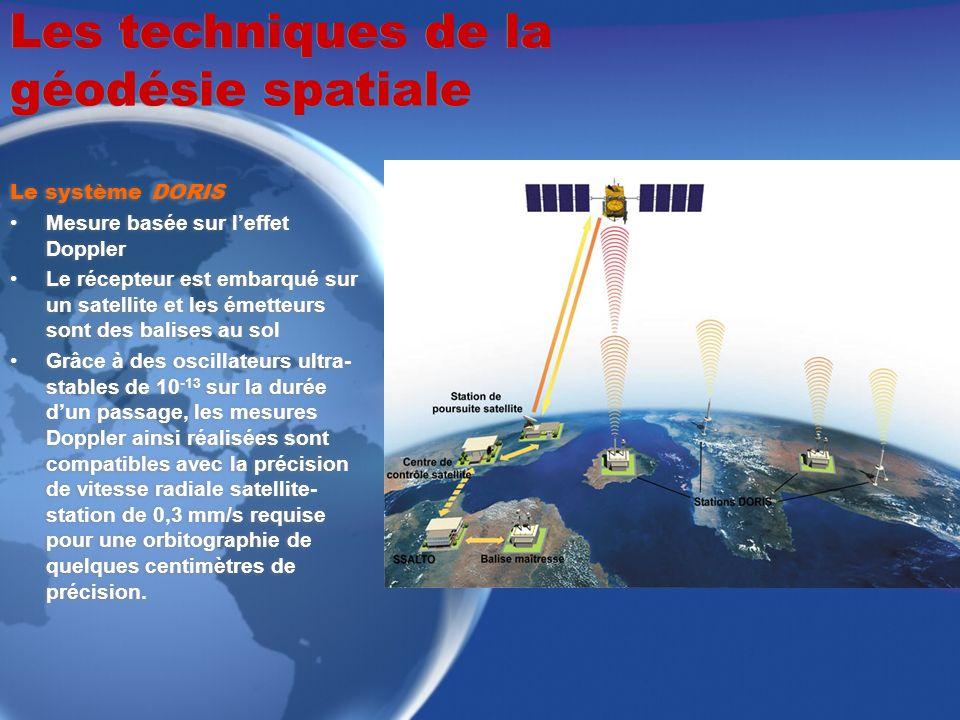 Les techniques de la géodésie spatiale Le système DORIS Mesure basée sur leffet Doppler Le récepteur est embarqué sur un satellite et les émetteurs so