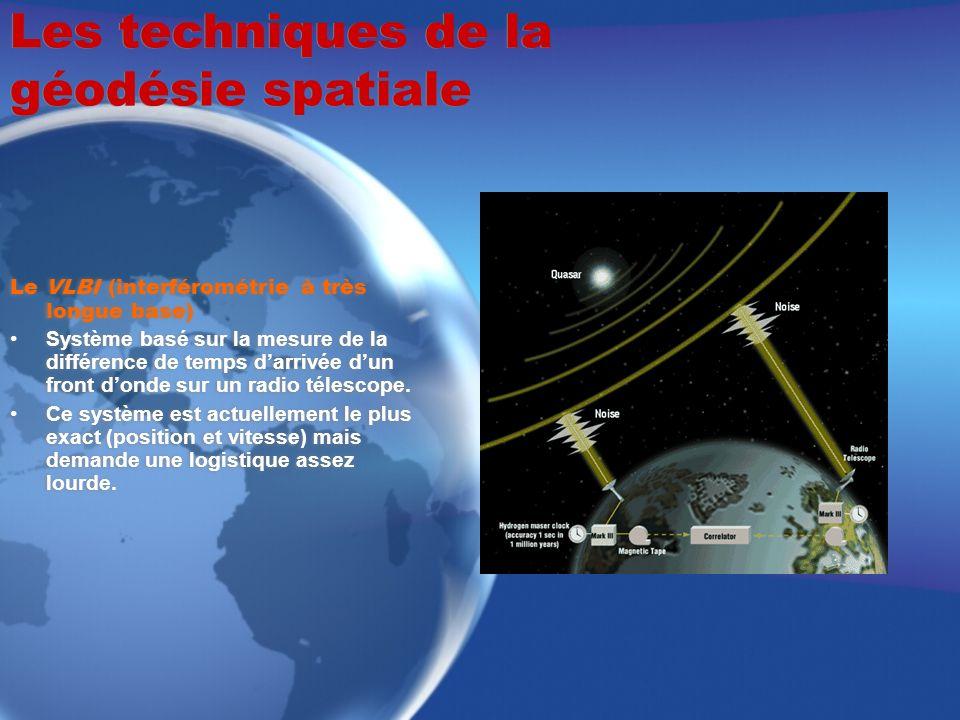 Les techniques de la géodésie spatiale Le VLBI (interférométrie à très longue base) Système basé sur la mesure de la différence de temps darrivée dun