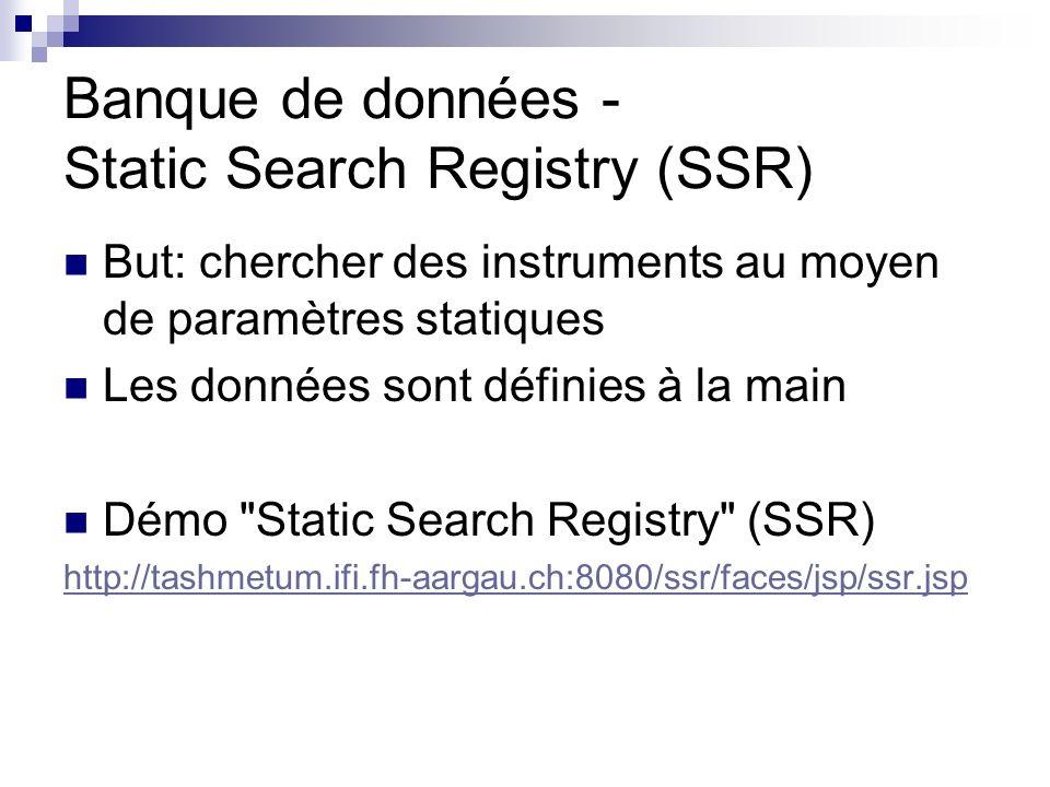 Banque de données - Static Search Registry (SSR) But: chercher des instruments au moyen de paramètres statiques Les données sont définies à la main Démo Static Search Registry (SSR) http://tashmetum.ifi.fh-aargau.ch:8080/ssr/faces/jsp/ssr.jsp