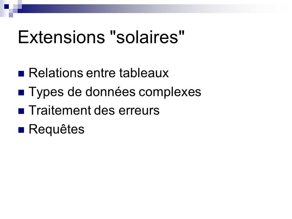Extensions solaires Relations entre tableaux Types de données complexes Traitement des erreurs Requêtes