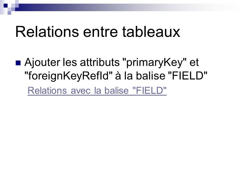 Relations entre tableaux Ajouter les attributs primaryKey et foreignKeyRefId à la balise FIELD Relations avec la balise FIELD