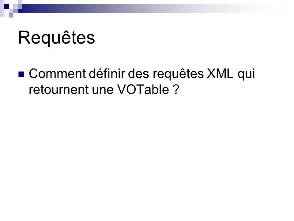 Requêtes Comment définir des requêtes XML qui retournent une VOTable ?