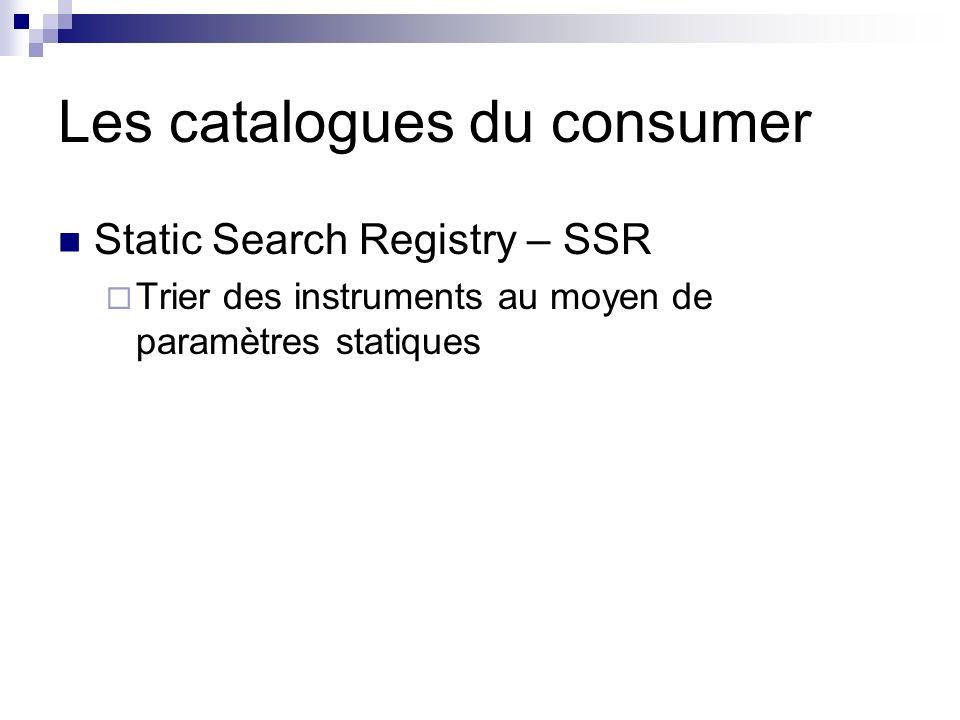 Les catalogues du consumer Static Search Registry – SSR Trier des instruments au moyen de paramètres statiques