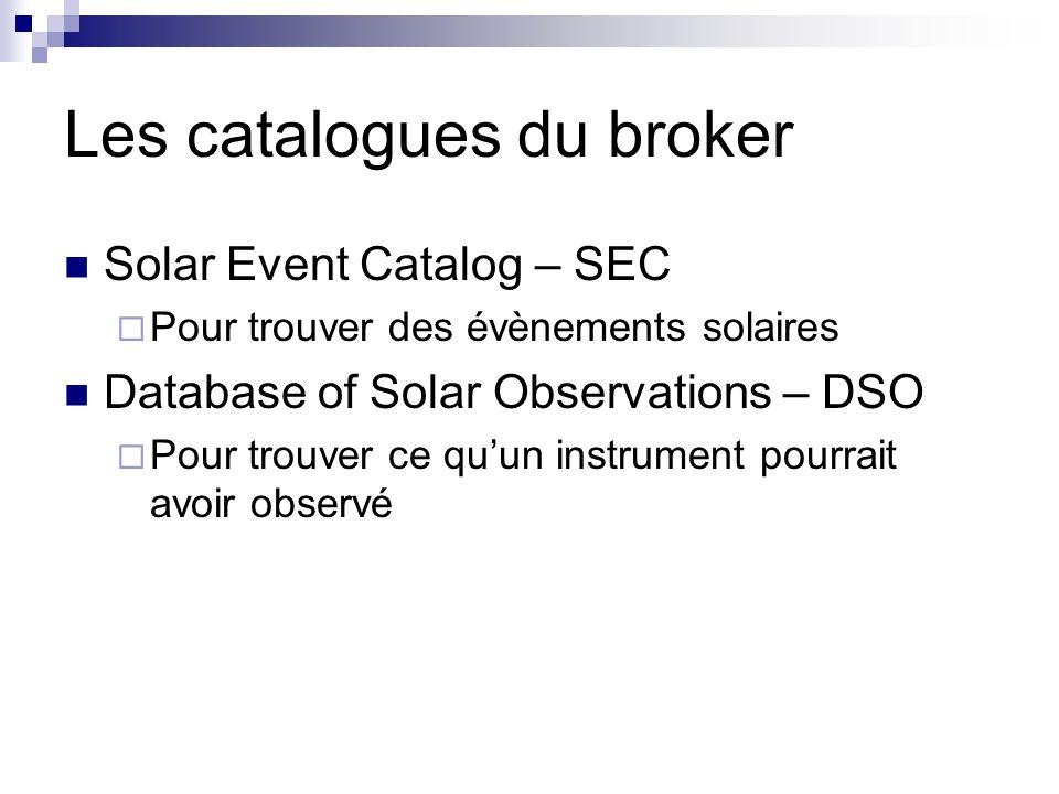Les catalogues du broker Solar Event Catalog – SEC Pour trouver des évènements solaires Database of Solar Observations – DSO Pour trouver ce quun instrument pourrait avoir observé