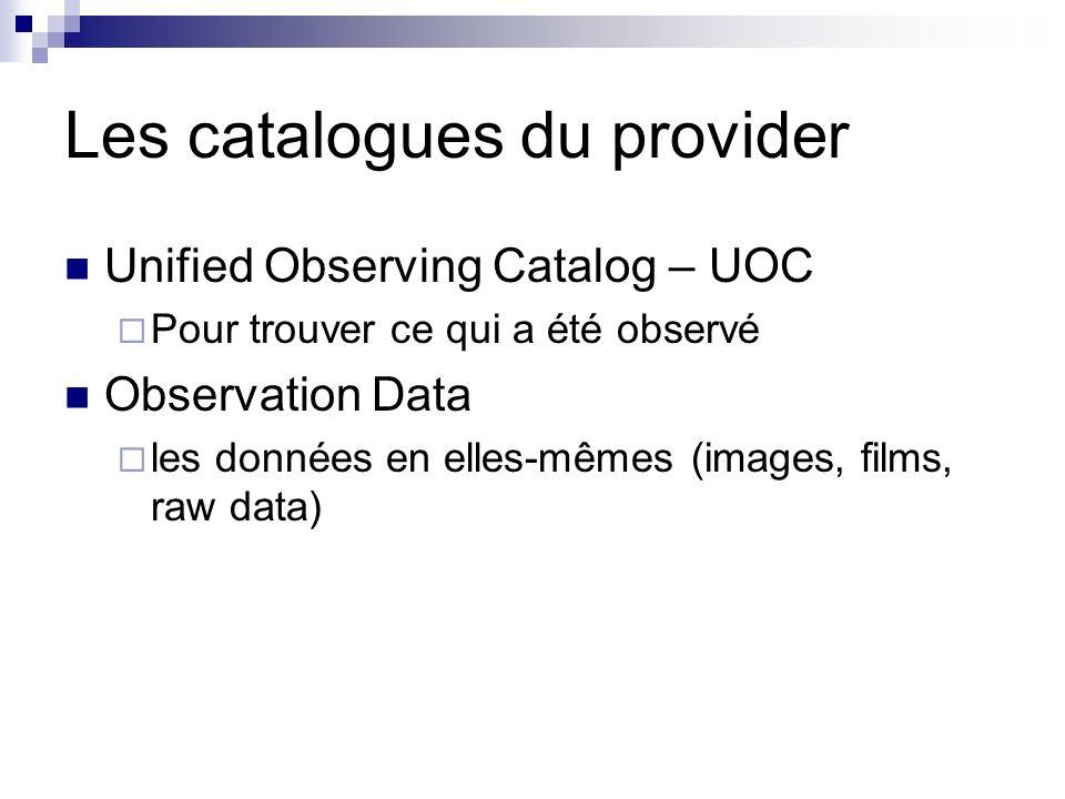 Les catalogues du provider Unified Observing Catalog – UOC Pour trouver ce qui a été observé Observation Data les données en elles-mêmes (images, films, raw data)