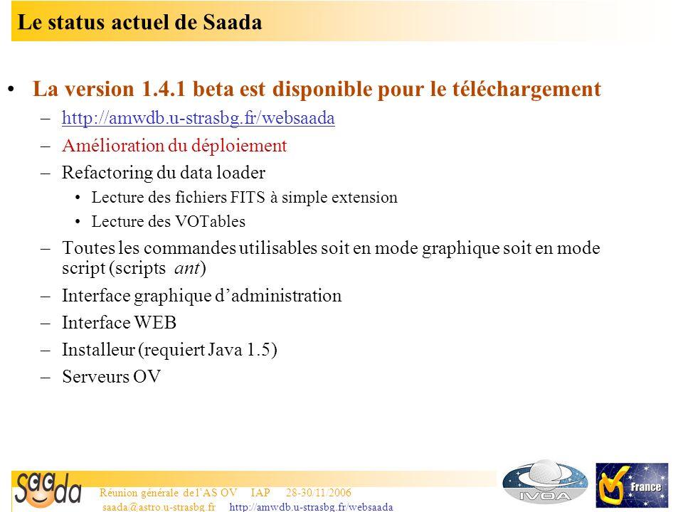 Réunion générale de lAS OV IAP 28-30/11/2006 saada@astro.u-strasbg.fr http://amwdb.u-strasbg.fr/websaada 12 Le status actuel de Saada La version 1.4.1 beta est disponible pour le téléchargement –http://amwdb.u-strasbg.fr/websaada –Amélioration du déploiement –Refactoring du data loader Lecture des fichiers FITS à simple extension Lecture des VOTables –Toutes les commandes utilisables soit en mode graphique soit en mode script (scripts ant) –Interface graphique dadministration –Interface WEB –Installeur (requiert Java 1.5) –Serveurs OV