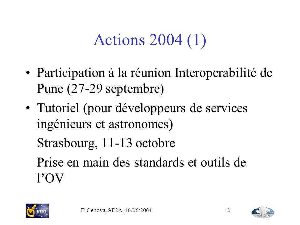F. Genova, SF2A, 16/06/200410 Actions 2004 (1) Participation à la réunion Interoperabilité de Pune (27-29 septembre) Tutoriel (pour développeurs de se