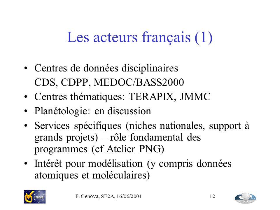 F. Genova, SF2A, 16/06/200412 Les acteurs français (1) Centres de données disciplinaires CDS, CDPP, MEDOC/BASS2000 Centres thématiques: TERAPIX, JMMC