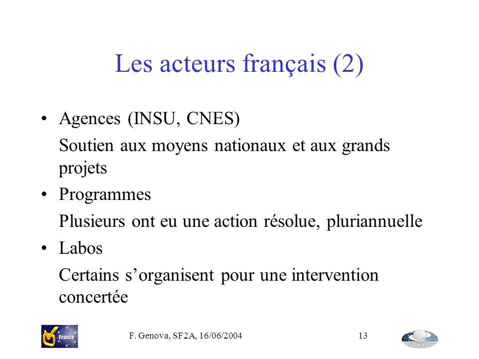 F. Genova, SF2A, 16/06/200413 Les acteurs français (2) Agences (INSU, CNES) Soutien aux moyens nationaux et aux grands projets Programmes Plusieurs on