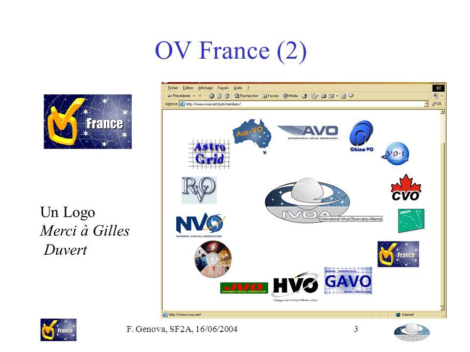 F. Genova, SF2A, 16/06/20043 OV France (2) Un Logo Merci à Gilles Duvert