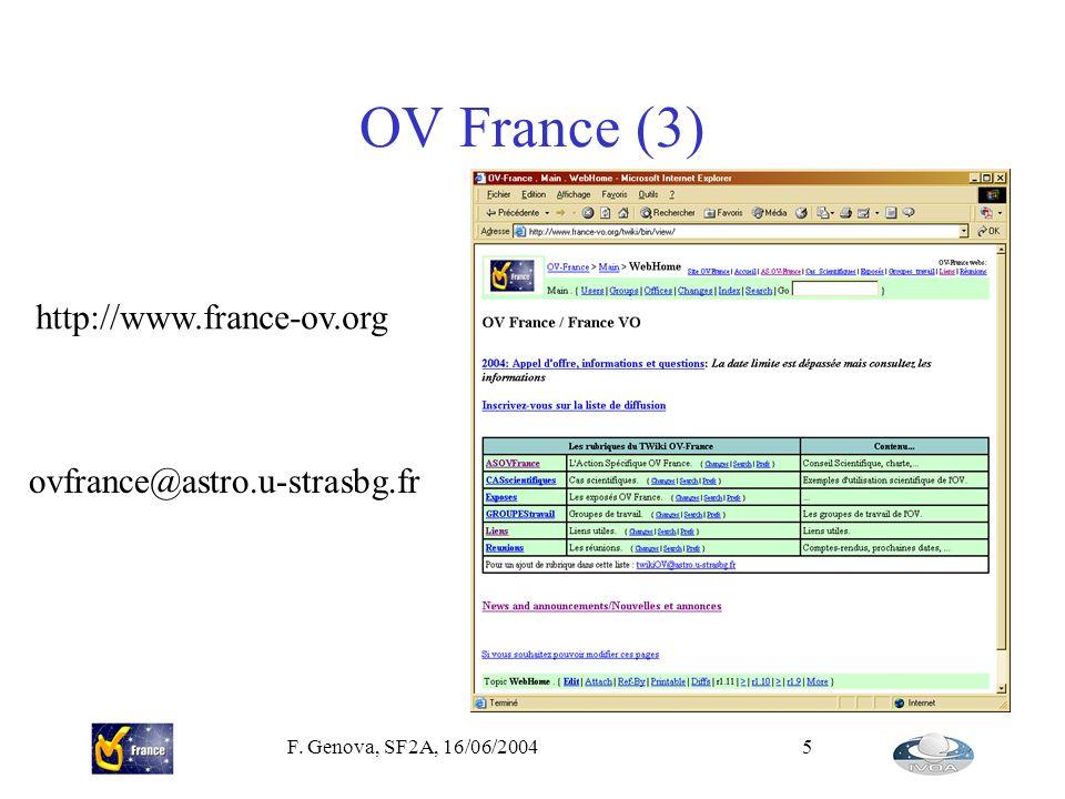 F. Genova, SF2A, 16/06/20045 OV France (3) http://www.france-ov.org ovfrance@astro.u-strasbg.fr