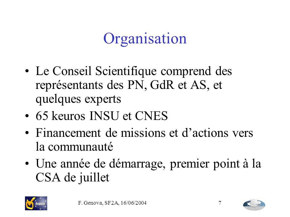 F. Genova, SF2A, 16/06/20047 Organisation Le Conseil Scientifique comprend des représentants des PN, GdR et AS, et quelques experts 65 keuros INSU et