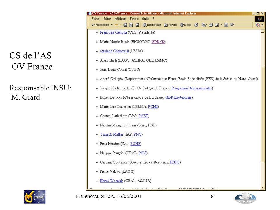 F. Genova, SF2A, 16/06/20048 CS de lAS OV France Responsable INSU: M. Giard
