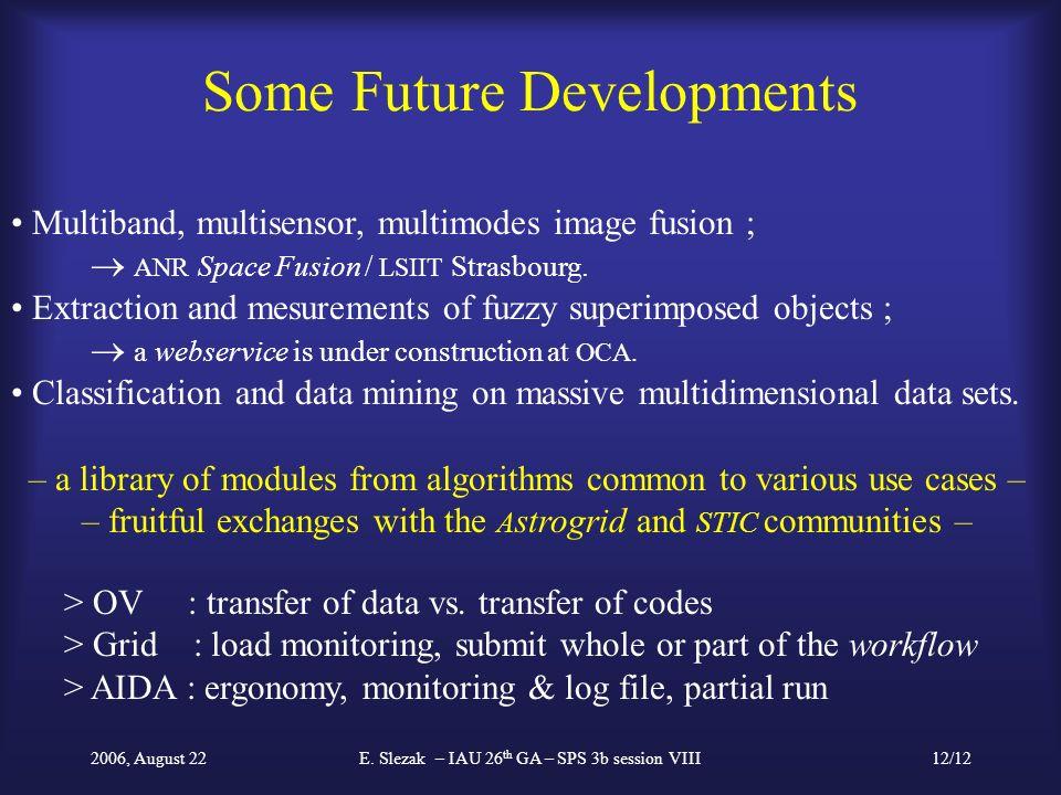 2006, August 22E. Slezak – IAU 26 th GA – SPS 3b session VIII12/12 Some Future Developments Multiband, multisensor, multimodes image fusion ; ANR Spac