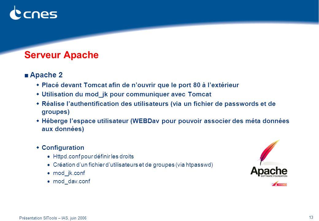 Présentation SITools – IAS, juin 2006 13 Serveur Apache Apache 2 Placé devant Tomcat afin de nouvrir que le port 80 à lextérieur Utilisation du mod_jk