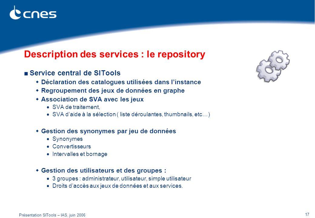 Présentation SITools – IAS, juin 2006 17 Description des services : le repository Service central de SITools Déclaration des catalogues utilisées dans