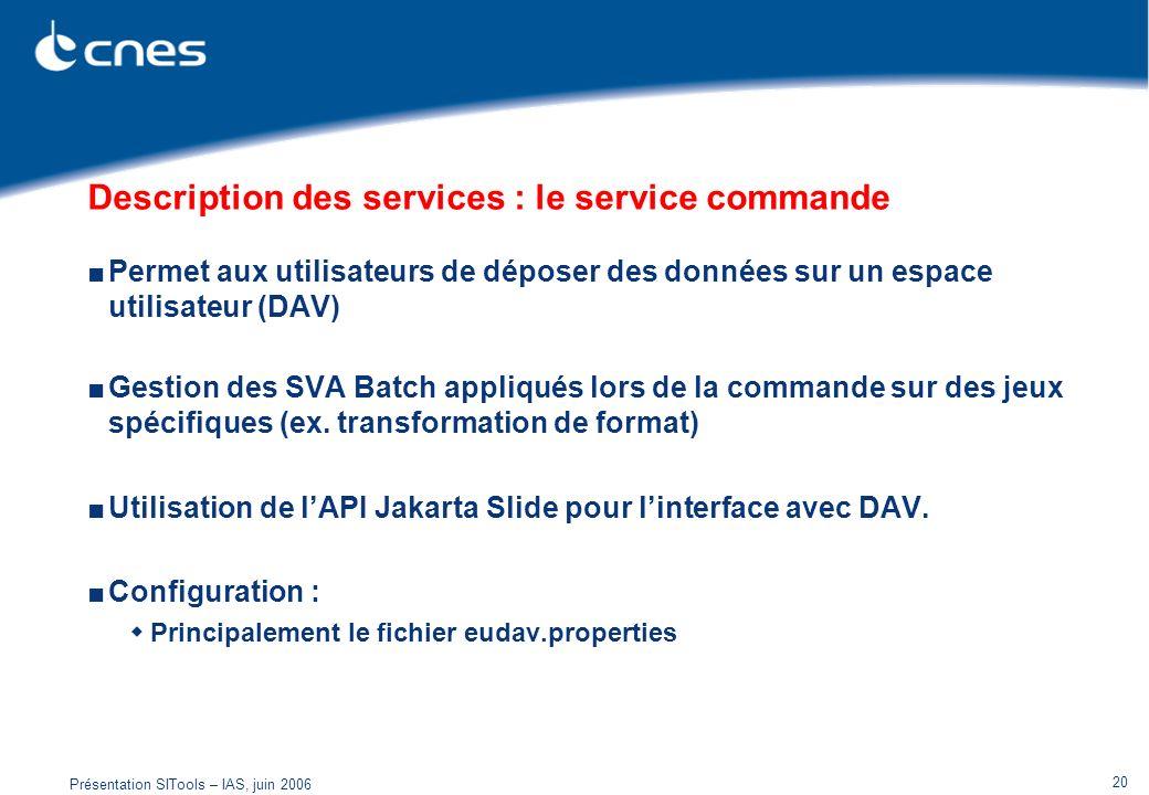 Présentation SITools – IAS, juin 2006 20 Description des services : le service commande Permet aux utilisateurs de déposer des données sur un espace u