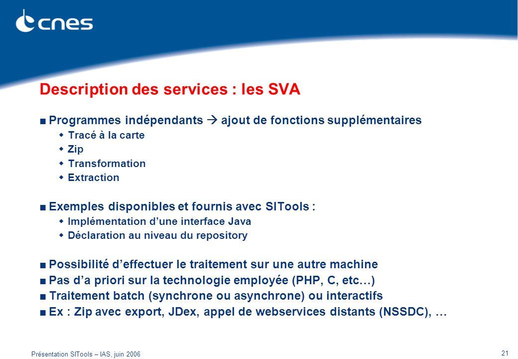 Présentation SITools – IAS, juin 2006 21 Description des services : les SVA Programmes indépendants ajout de fonctions supplémentaires Tracé à la cart