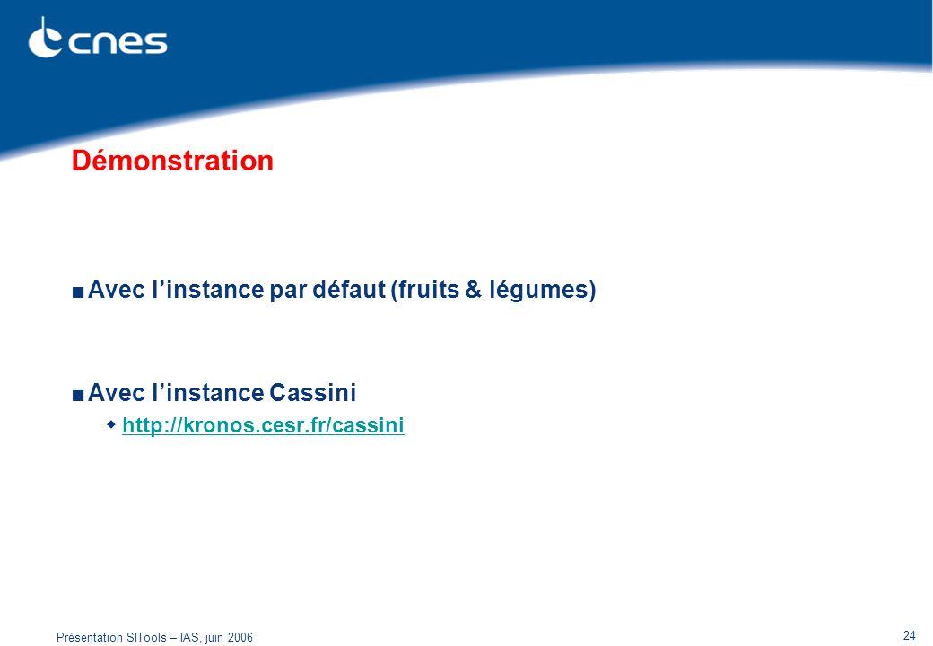 Présentation SITools – IAS, juin 2006 24 Démonstration Avec linstance par défaut (fruits & légumes) Avec linstance Cassini http://kronos.cesr.fr/cassi
