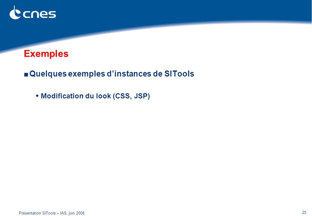 Présentation SITools – IAS, juin 2006 25 Exemples Quelques exemples dinstances de SITools Modification du look (CSS, JSP)