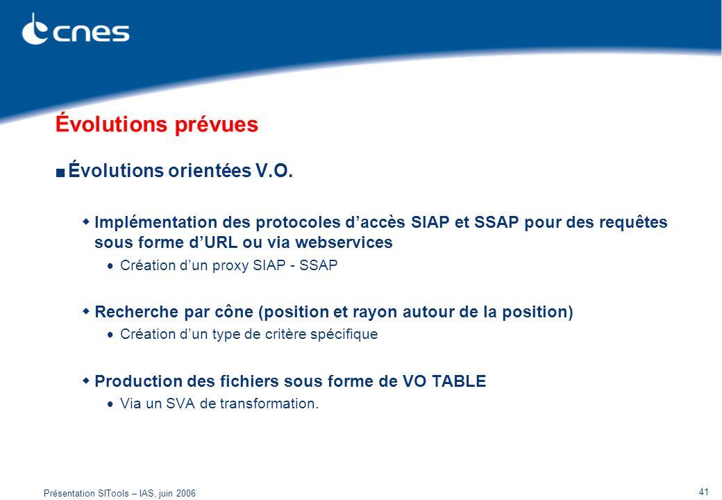 Présentation SITools – IAS, juin 2006 41 Évolutions prévues Évolutions orientées V.O. Implémentation des protocoles daccès SIAP et SSAP pour des requê