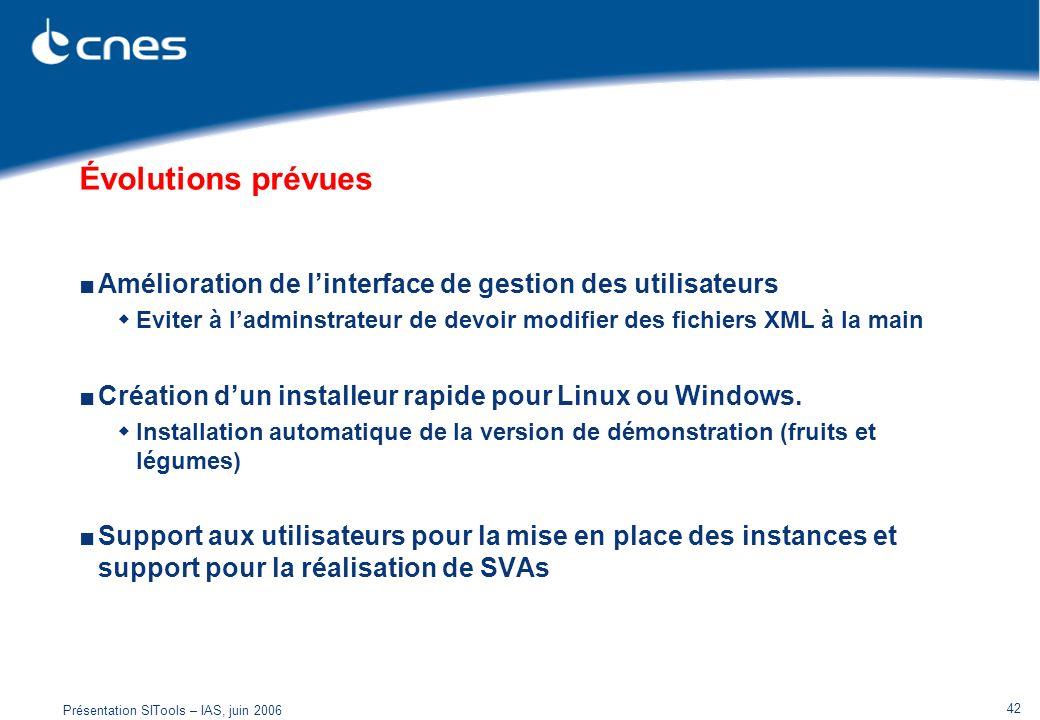 Présentation SITools – IAS, juin 2006 42 Évolutions prévues Amélioration de linterface de gestion des utilisateurs Eviter à ladminstrateur de devoir m