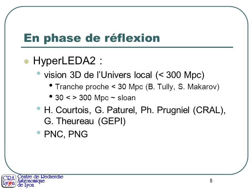5 En phase de réflexion HyperLEDA2 : vision 3D de lUnivers local (< 300 Mpc) Tranche proche < 30 Mpc (B. Tully, S. Makarov) 30 300 Mpc ~ sloan H. Cour