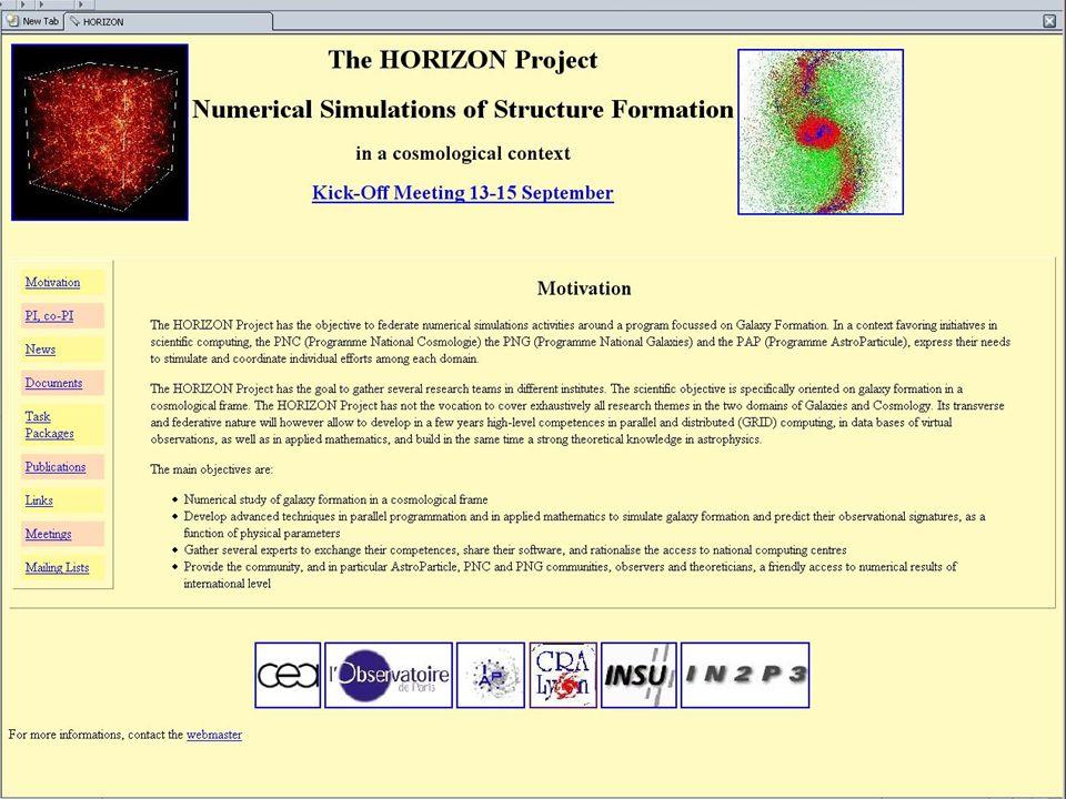 8 OV Horizon OV Théorique orienté simulations numériques Basé sur les logiciels danalyse des simus (simus = x,y,z,vx,vy,vz, temps ) analyse non-observationnelle des simulations fabrication dobservables (images, cubes) GalICS (www.iap.fr) prototype non-VOwww.iap.fr HaloMaker : recherche des halos de matière sombre TreeMaker: reconstruction de lhistoire des halos trouvés par HaloMaker … MoMaF GAVO (J.
