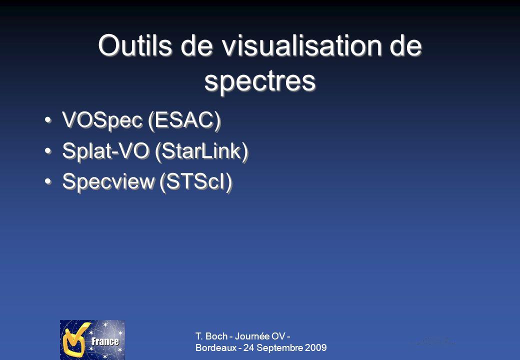 T. Boch - Journée OV - Bordeaux - 24 Septembre 2009 Outils de visualisation de spectres VOSpec (ESAC) Splat-VO (StarLink) Specview (STScI) VOSpec (ESA