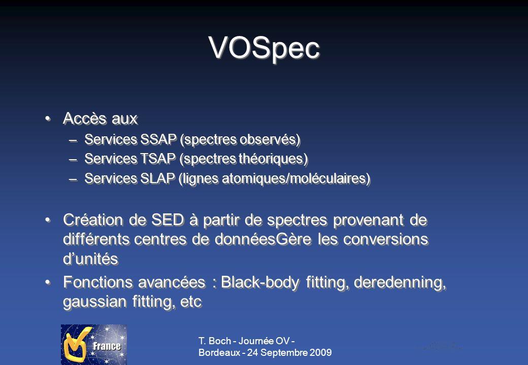 T. Boch - Journée OV - Bordeaux - 24 Septembre 2009 VOSpec Accès aux –Services SSAP (spectres observés) –Services TSAP (spectres théoriques) –Services