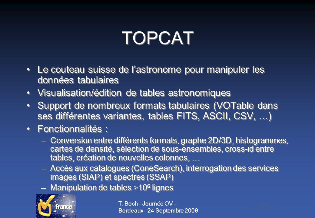 T. Boch - Journée OV - Bordeaux - 24 Septembre 2009 TOPCAT Le couteau suisse de lastronome pour manipuler les données tabulaires Visualisation/édition