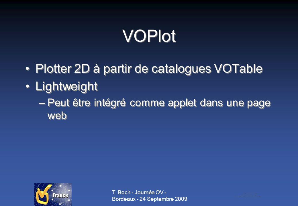 T. Boch - Journée OV - Bordeaux - 24 Septembre 2009 VOPlot Plotter 2D à partir de catalogues VOTable Lightweight –Peut être intégré comme applet dans