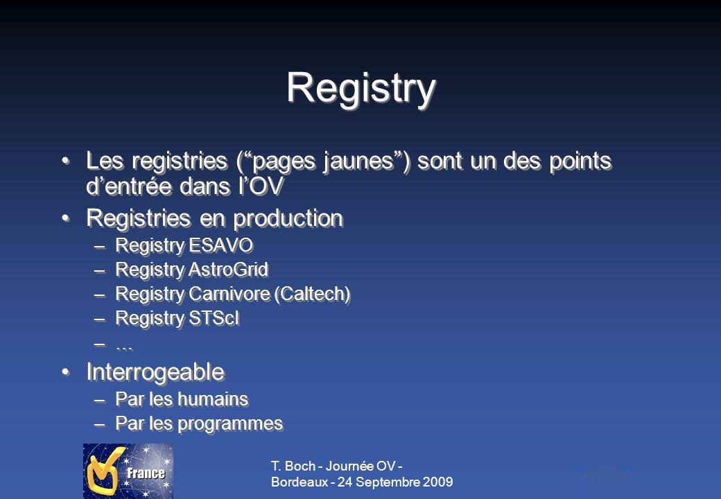 T. Boch - Journée OV - Bordeaux - 24 Septembre 2009 Registry Les registries (pages jaunes) sont un des points dentrée dans lOV Registries en productio