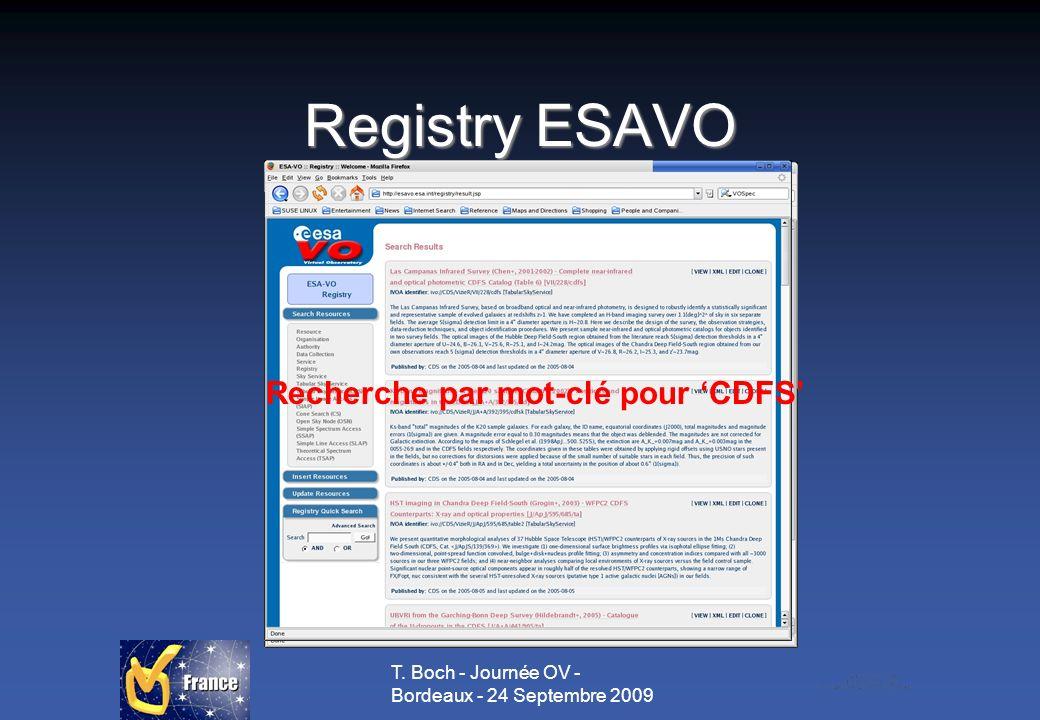 T. Boch - Journée OV - Bordeaux - 24 Septembre 2009 Registry ESAVO Formulaire de recherche Recherche par mot-clé pour CDFS
