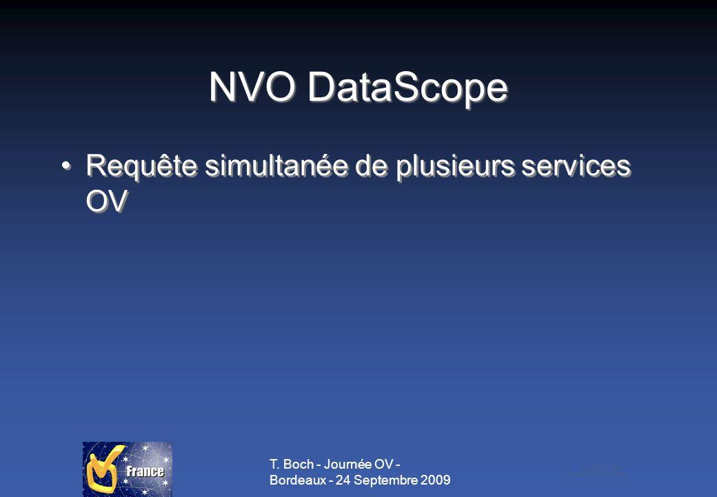 T. Boch - Journée OV - Bordeaux - 24 Septembre 2009 NVO DataScope Requête simultanée de plusieurs services OV