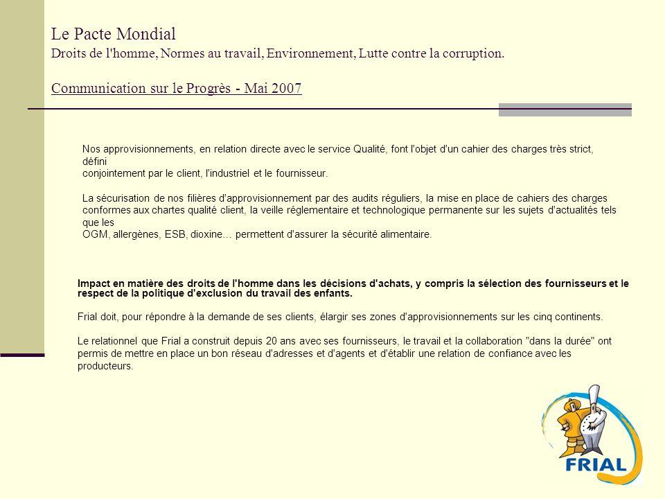 Le Pacte Mondial Droits de l'homme, Normes au travail, Environnement, Lutte contre la corruption. Communication sur le Progrès - Mai 2007 Impact en ma
