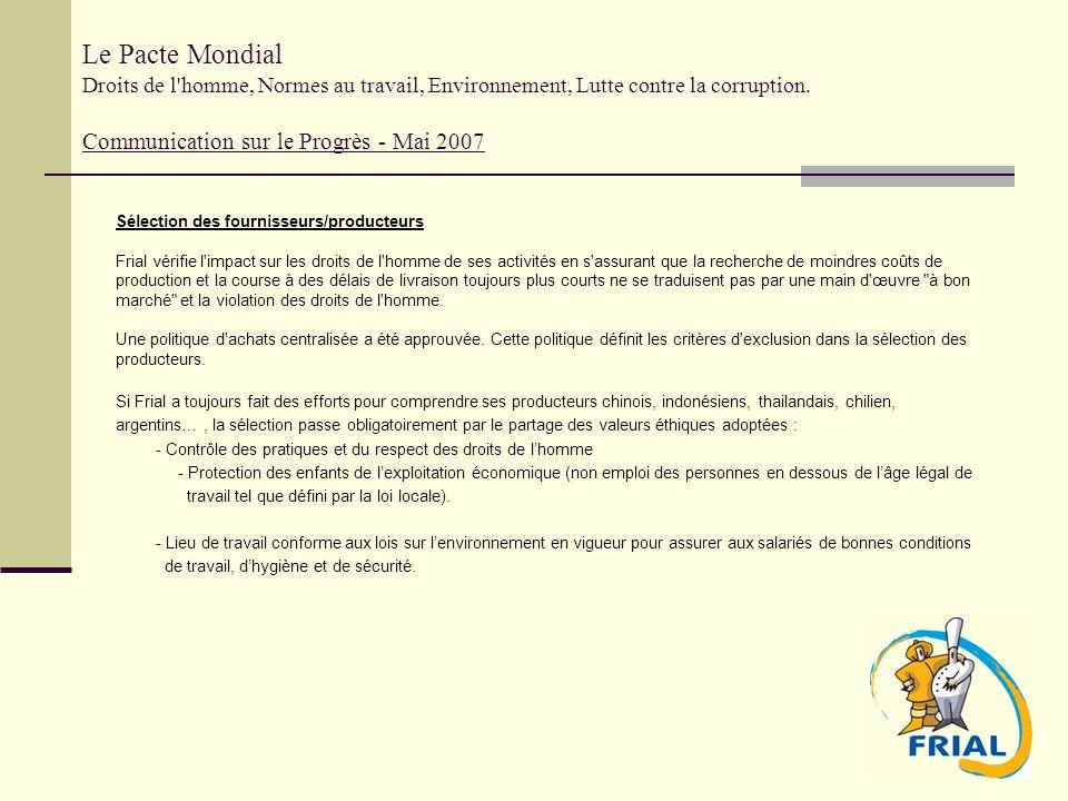 Le Pacte Mondial Droits de l'homme, Normes au travail, Environnement, Lutte contre la corruption. Communication sur le Progrès - Mai 2007 Sélection de