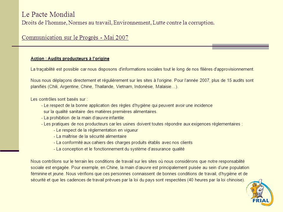 Le Pacte Mondial Droits de l'homme, Normes au travail, Environnement, Lutte contre la corruption. Communication sur le Progrès - Mai 2007 Action : Aud