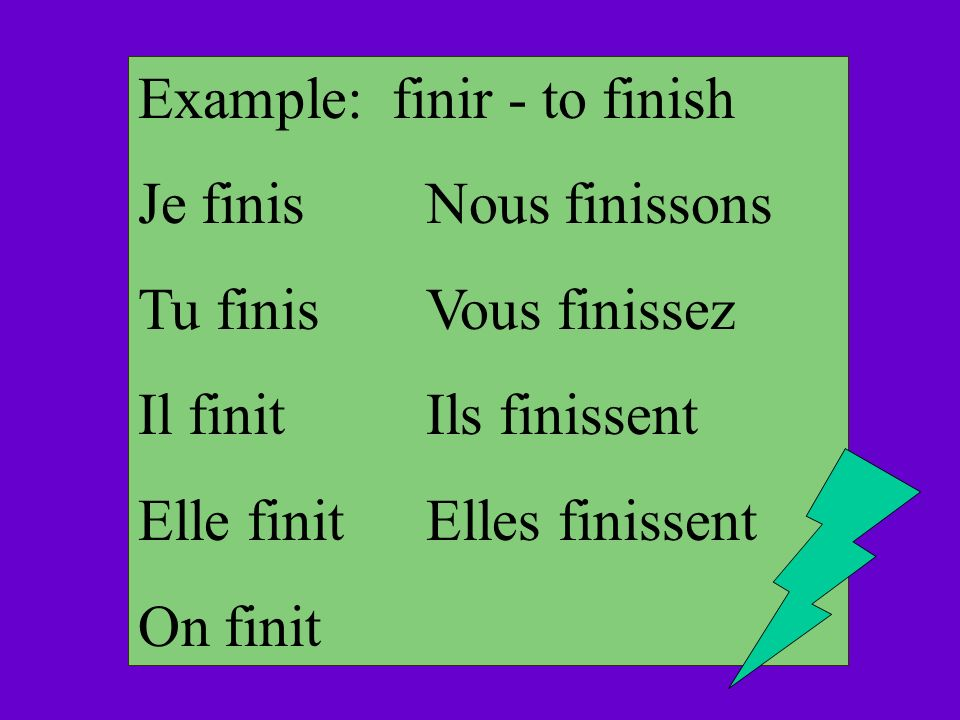 Example: finir - to finish Je finisNous finissons Tu finisVous finissez Il finitIls finissent Elle finitElles finissent On finit