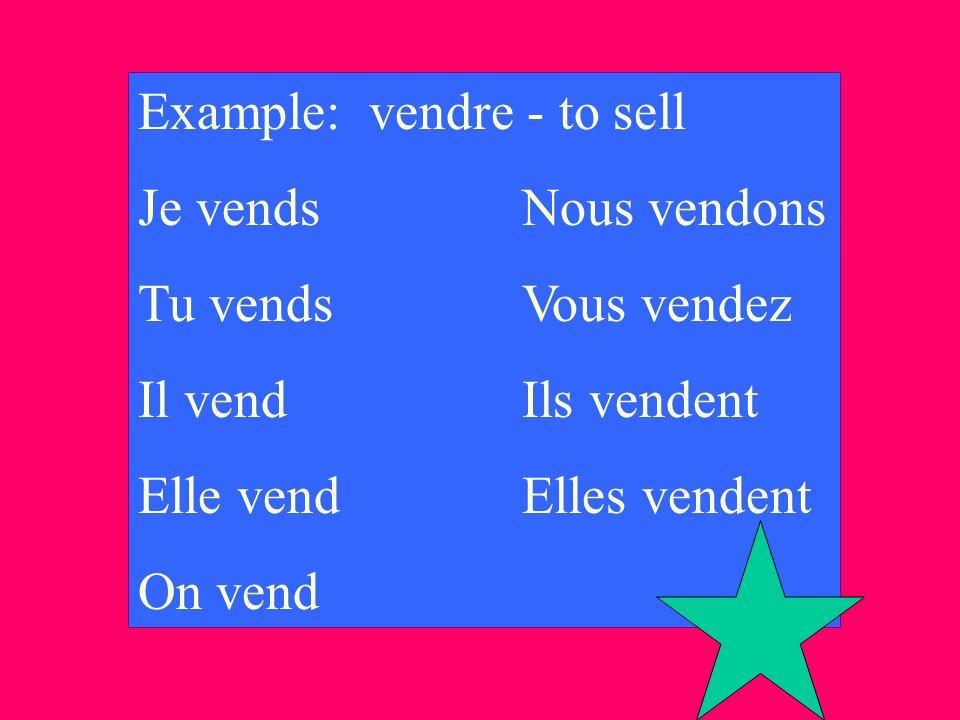 Example: vendre - to sell Je vendsNous vendons Tu vendsVous vendez Il vendIls vendent Elle vendElles vendent On vend